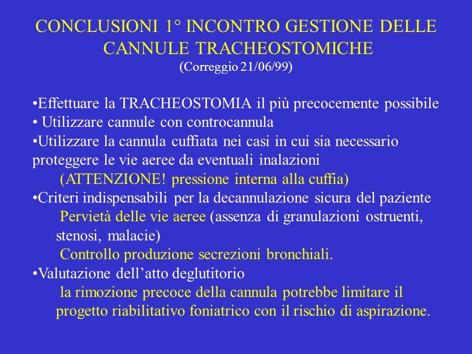 CONCLUSIONI 1° INCONTRO GESTIONE DELLE CANNULE TRACHEOSTOMICHE
