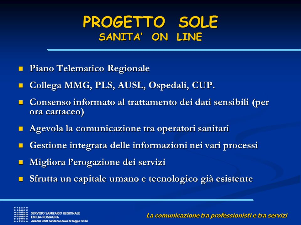 PROGETTO SOLE SANITA' ON LINE