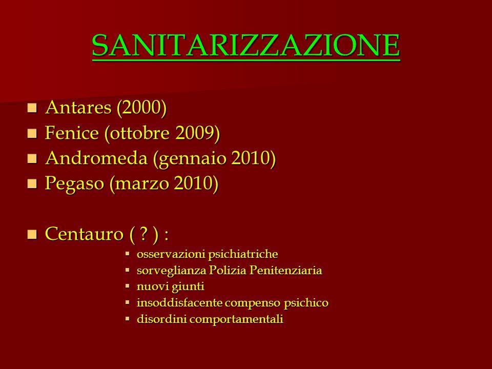 SANITARIZZAZIONE Antares (2000) Fenice (ottobre 2009)