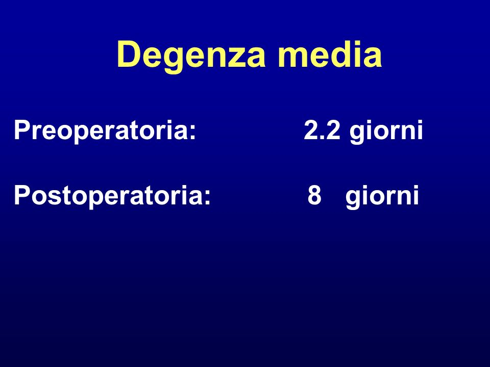 Degenza media Preoperatoria: 2.2 giorni Postoperatoria: 8 giorni