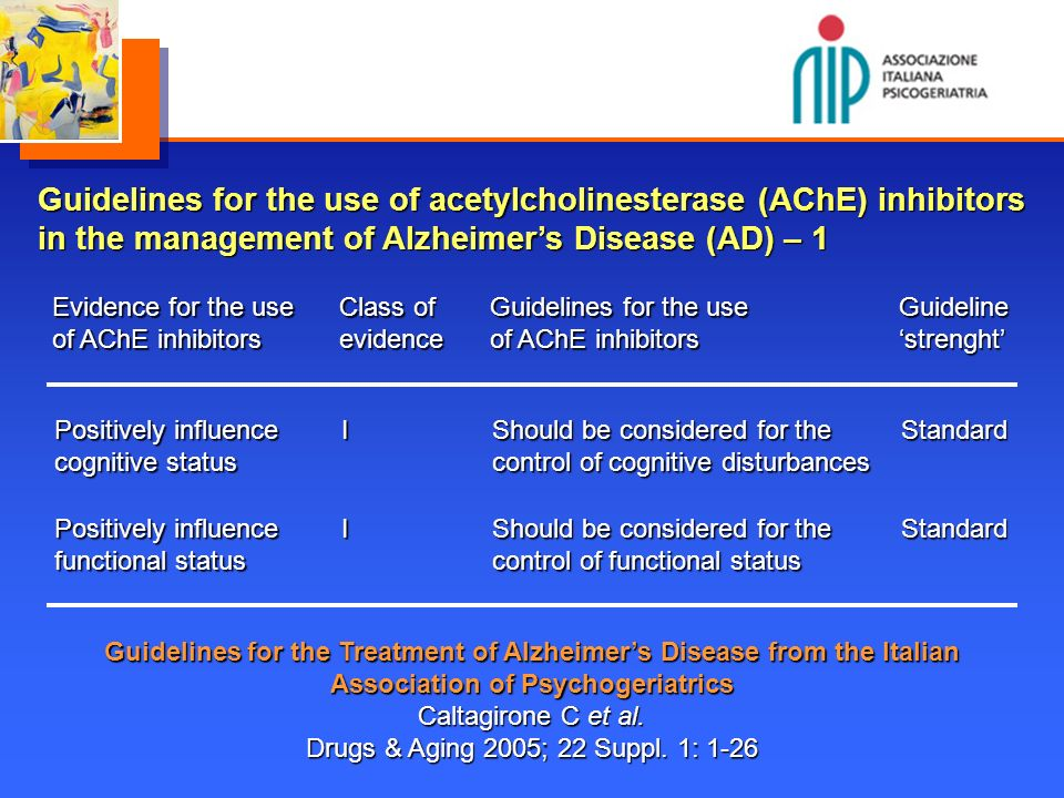 Guidelines for the use of acetylcholinesterase (AChE) inhibitors