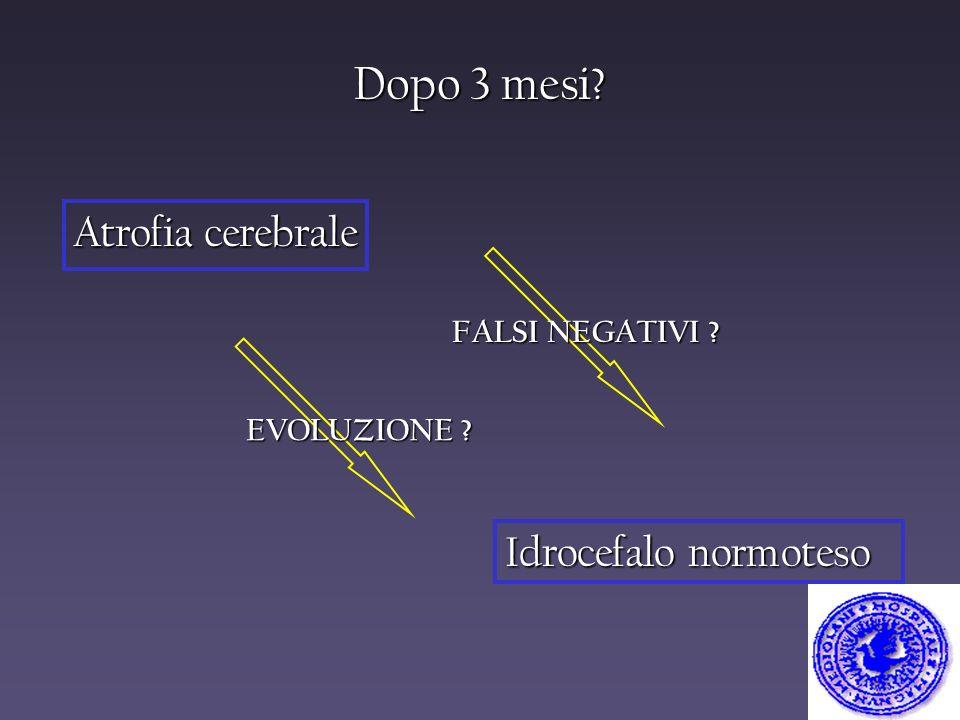 Dopo 3 mesi Atrofia cerebrale Idrocefalo normoteso FALSI NEGATIVI