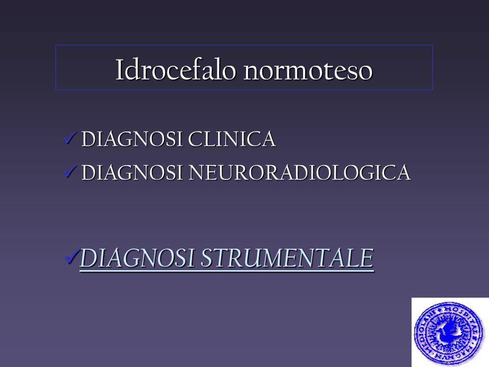 Idrocefalo normoteso DIAGNOSI STRUMENTALE DIAGNOSI CLINICA