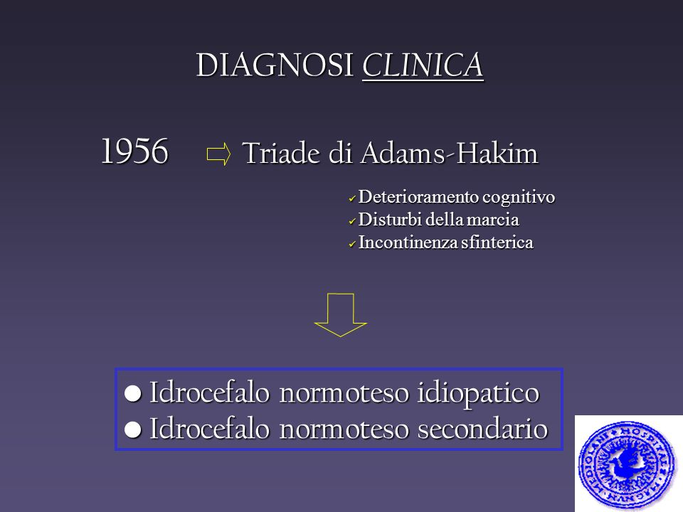 1956 Triade di Adams-Hakim DIAGNOSI CLINICA