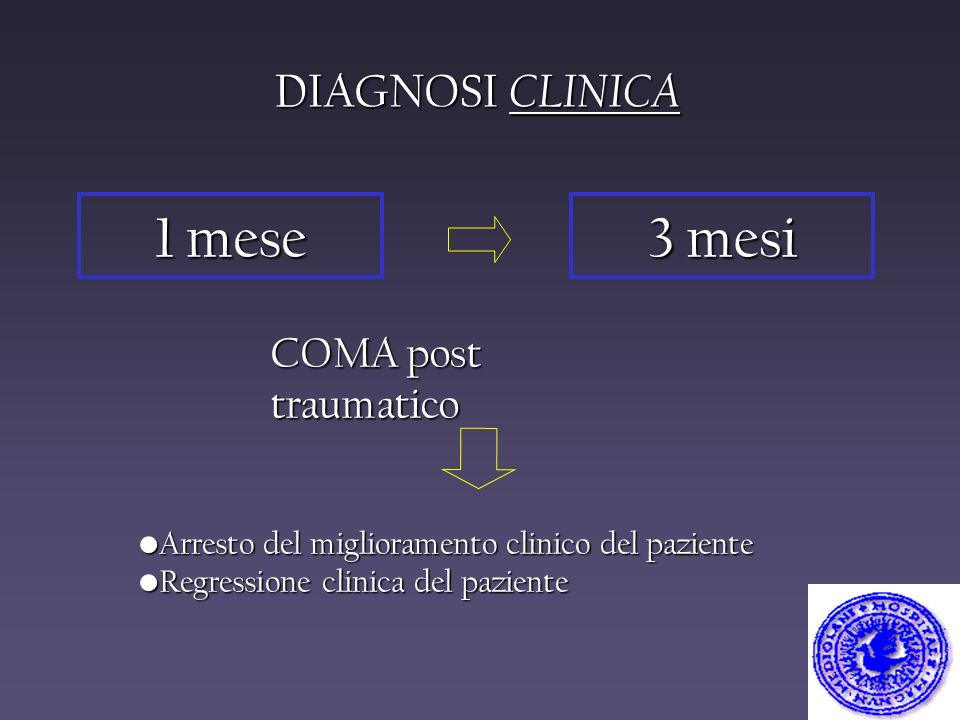 1 mese 3 mesi DIAGNOSI CLINICA COMA post traumatico