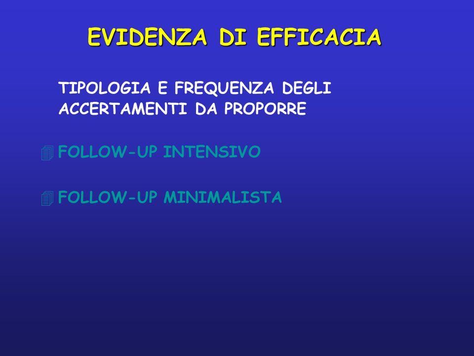 EVIDENZA DI EFFICACIA TIPOLOGIA E FREQUENZA DEGLI ACCERTAMENTI DA PROPORRE.
