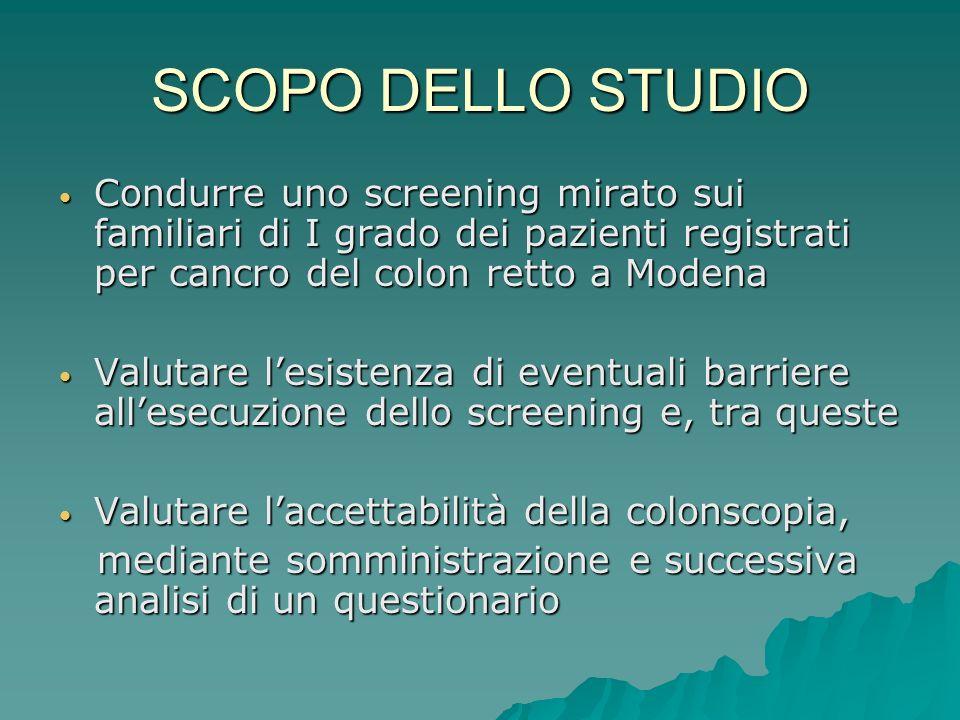 SCOPO DELLO STUDIO Condurre uno screening mirato sui familiari di I grado dei pazienti registrati per cancro del colon retto a Modena.