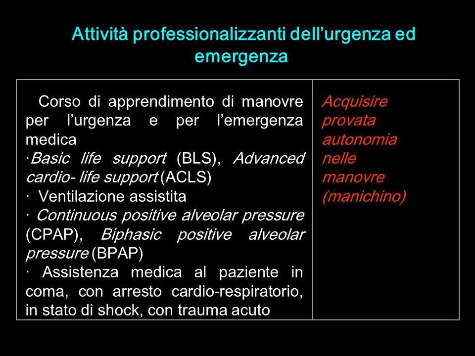 Attività professionalizzanti dell'urgenza ed emergenza