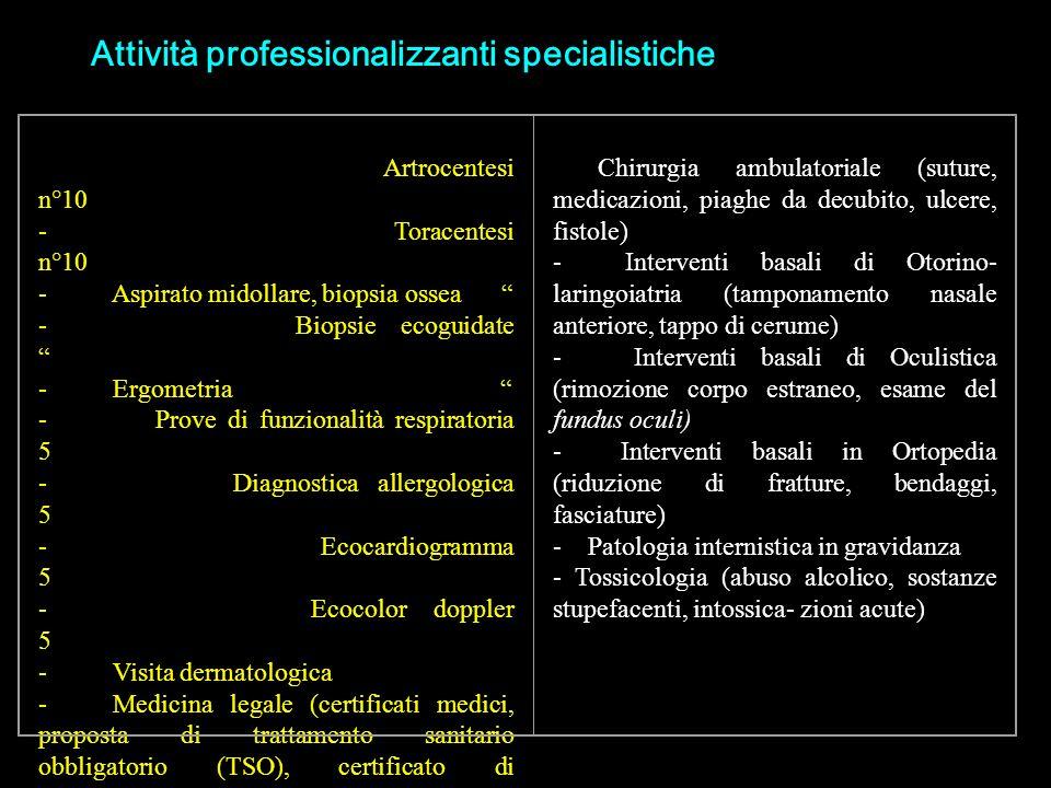 Attività professionalizzanti specialistiche