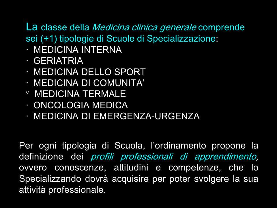 La classe della Medicina clinica generale comprende sei (+1) tipologie di Scuole di Specializzazione: