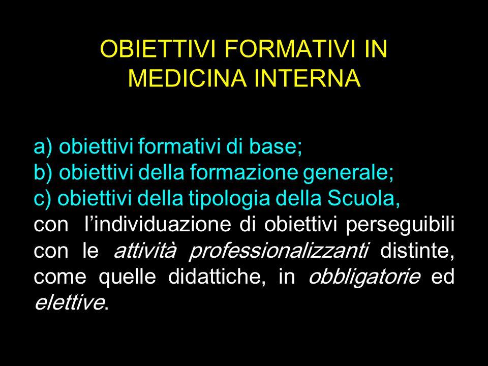 OBIETTIVI FORMATIVI IN MEDICINA INTERNA