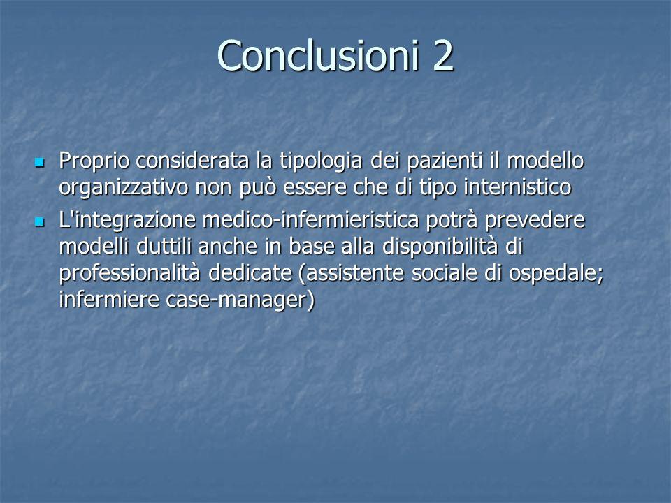 Conclusioni 2 Proprio considerata la tipologia dei pazienti il modello organizzativo non può essere che di tipo internistico.