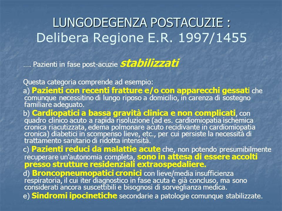 LUNGODEGENZA POSTACUZIE : Delibera Regione E.R. 1997/1455