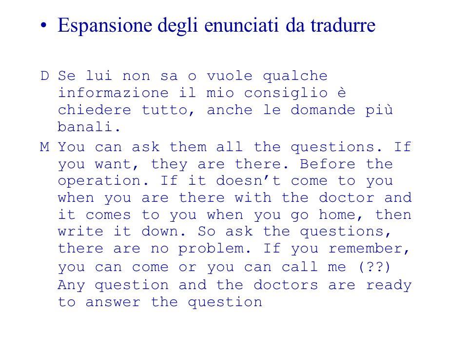 Espansione degli enunciati da tradurre