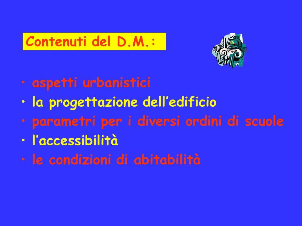 Contenuti del D.M.: aspetti urbanistici. la progettazione dell'edificio. parametri per i diversi ordini di scuole.