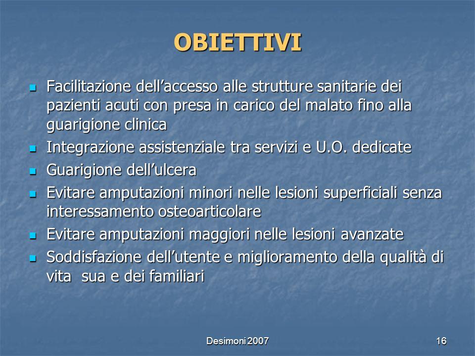 OBIETTIVI Facilitazione dell'accesso alle strutture sanitarie dei pazienti acuti con presa in carico del malato fino alla guarigione clinica.