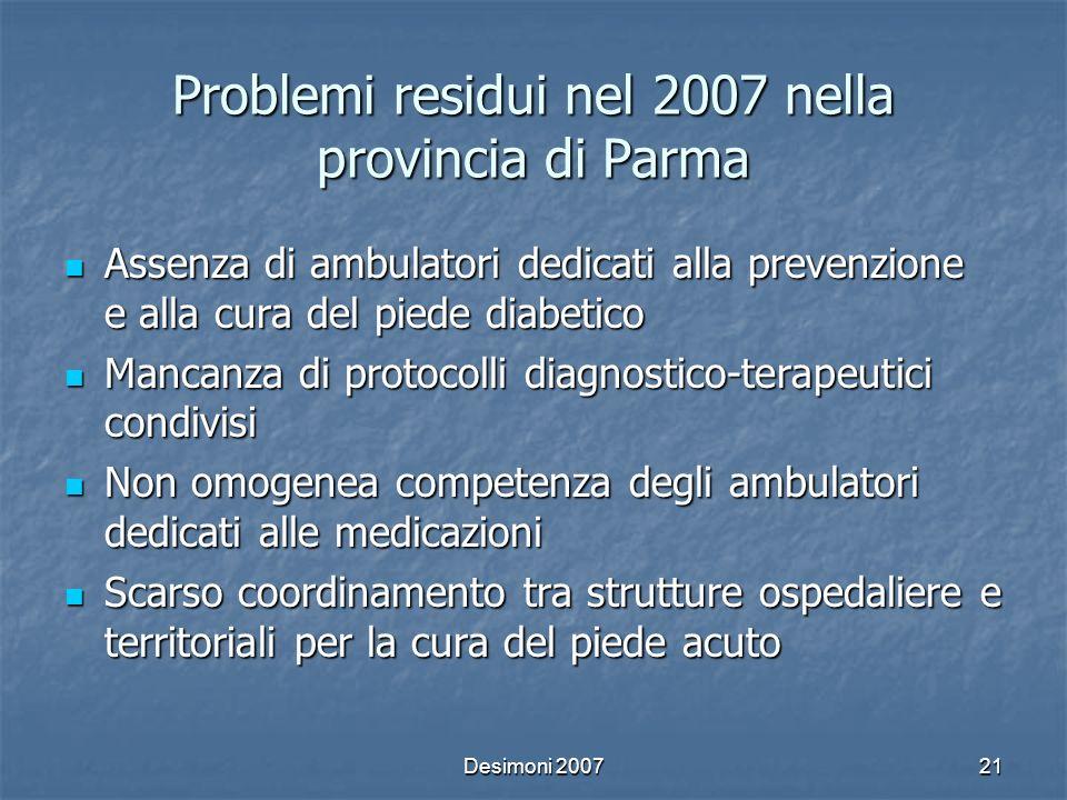 Problemi residui nel 2007 nella provincia di Parma