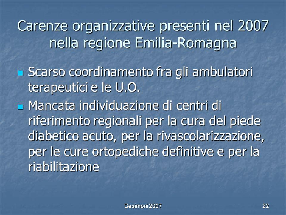 Carenze organizzative presenti nel 2007 nella regione Emilia-Romagna