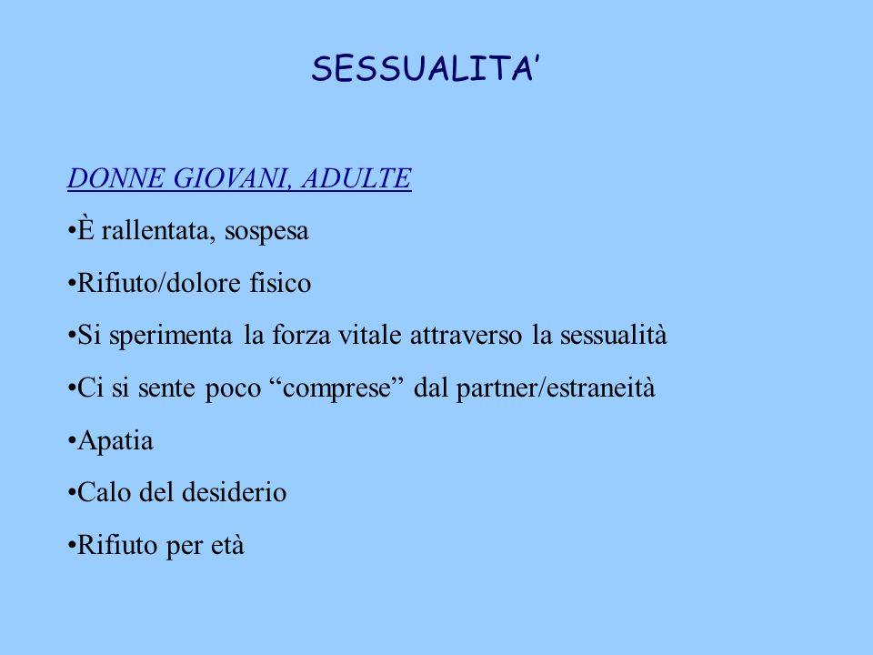 SESSUALITA' DONNE GIOVANI, ADULTE È rallentata, sospesa