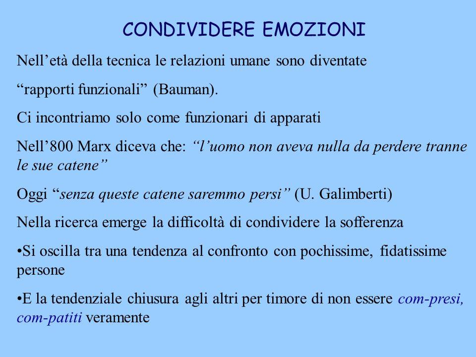 CONDIVIDERE EMOZIONI Nell'età della tecnica le relazioni umane sono diventate. rapporti funzionali (Bauman).