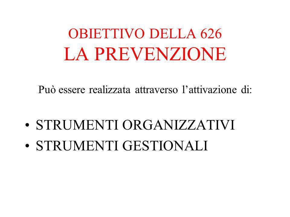 OBIETTIVO DELLA 626 LA PREVENZIONE