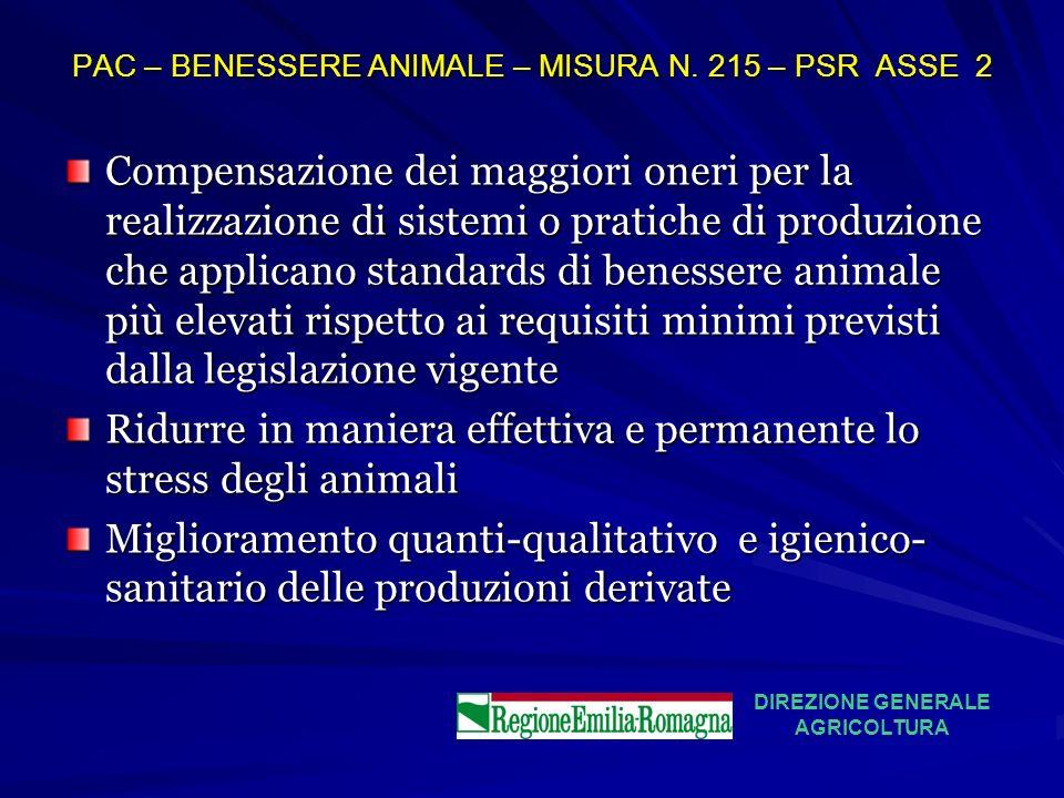 PAC – BENESSERE ANIMALE – MISURA N. 215 – PSR ASSE 2