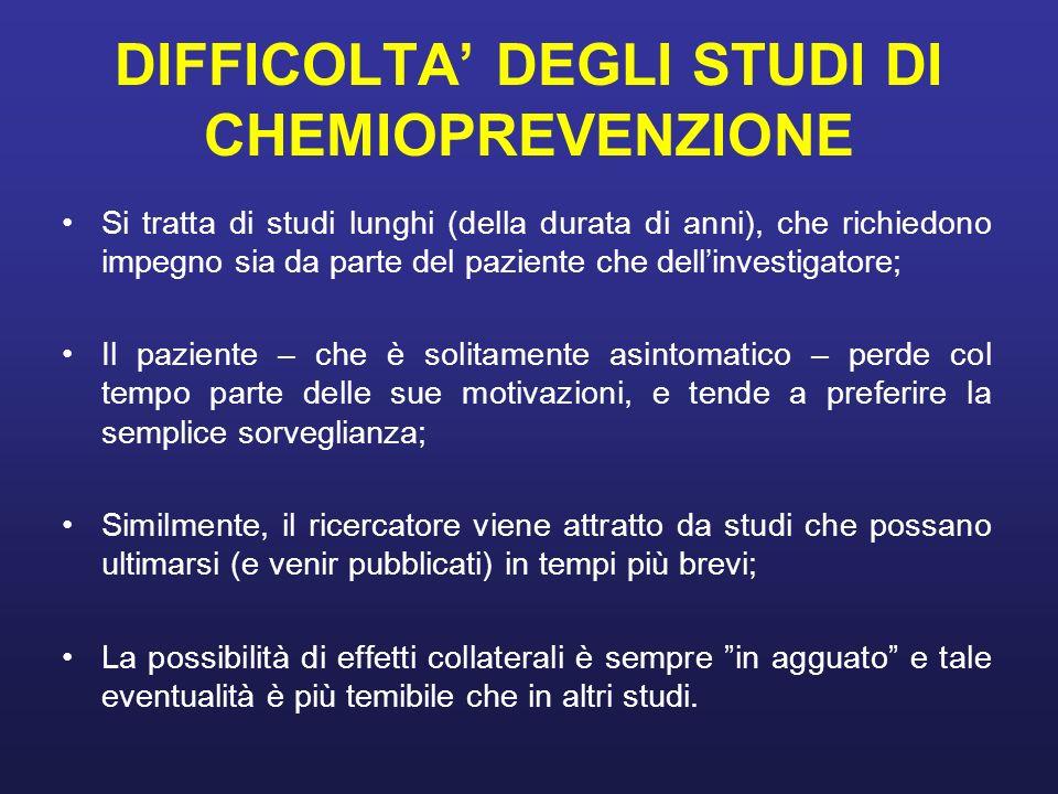 DIFFICOLTA' DEGLI STUDI DI CHEMIOPREVENZIONE