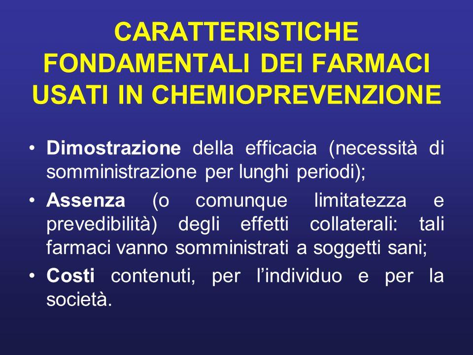 CARATTERISTICHE FONDAMENTALI DEI FARMACI USATI IN CHEMIOPREVENZIONE