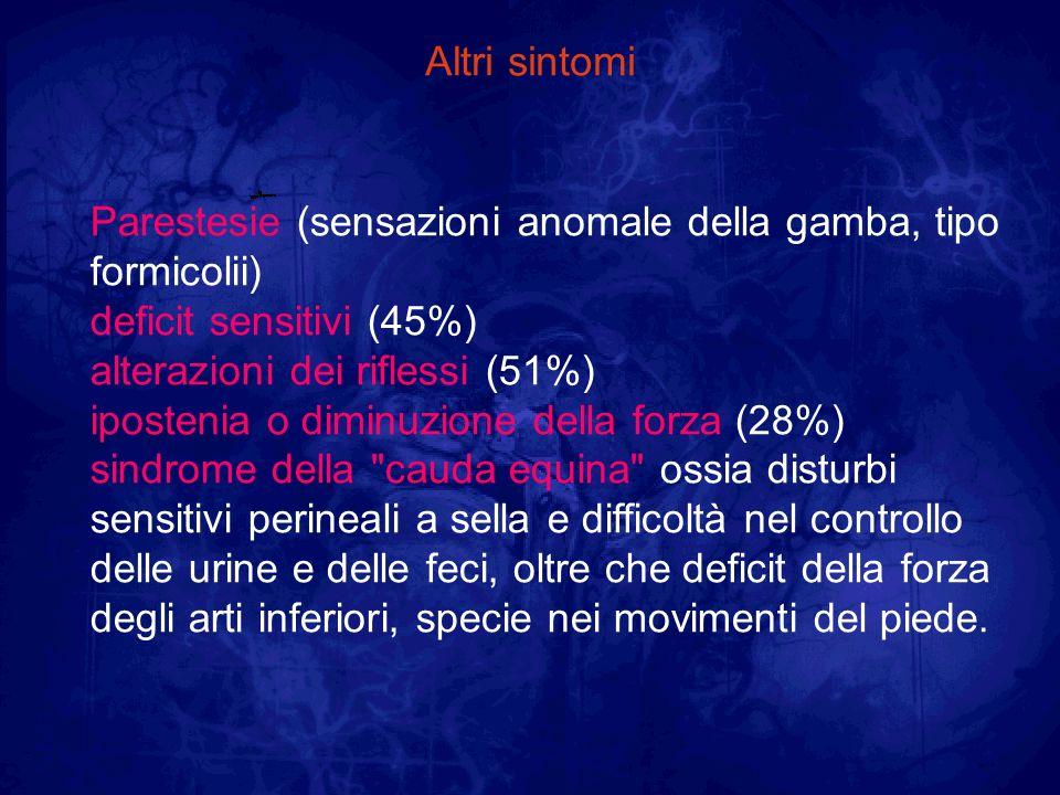 Altri sintomiParestesie (sensazioni anomale della gamba, tipo formicolii) deficit sensitivi (45%) alterazioni dei riflessi (51%)