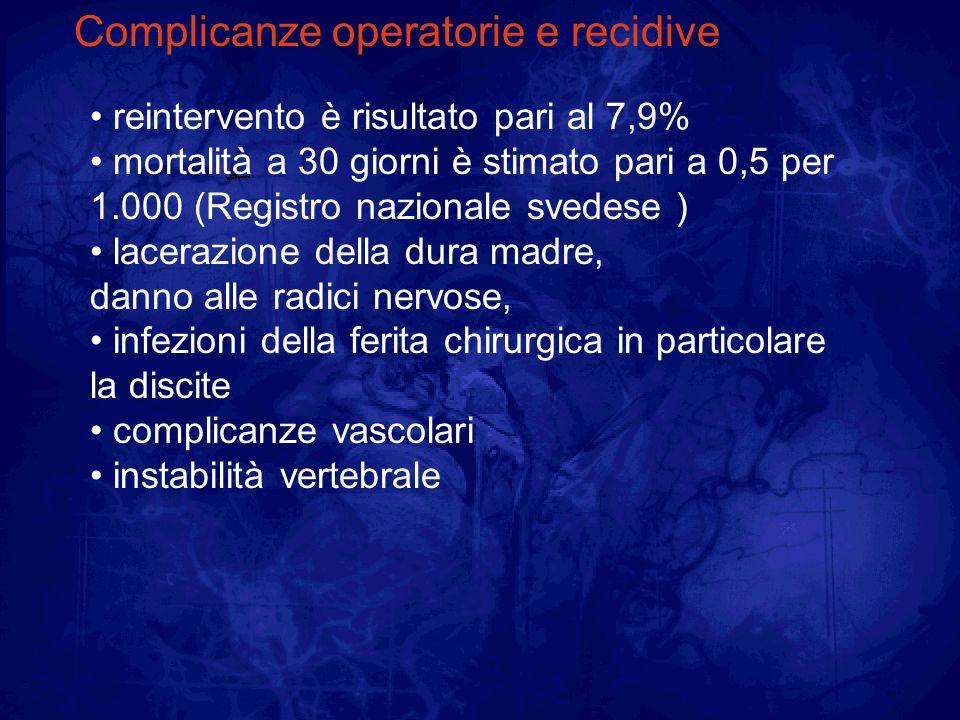 Complicanze operatorie e recidive