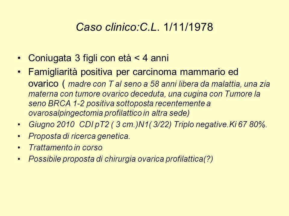 Caso clinico:C.L. 1/11/1978 Coniugata 3 figli con età < 4 anni