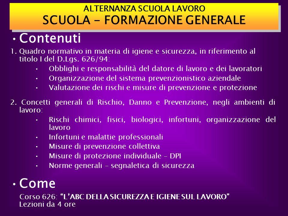 ALTERNANZA SCUOLA LAVORO SCUOLA - FORMAZIONE GENERALE