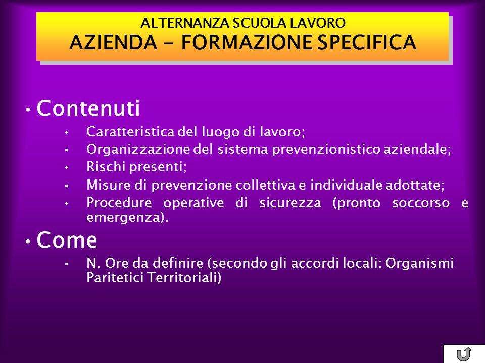 ALTERNANZA SCUOLA LAVORO AZIENDA - FORMAZIONE SPECIFICA