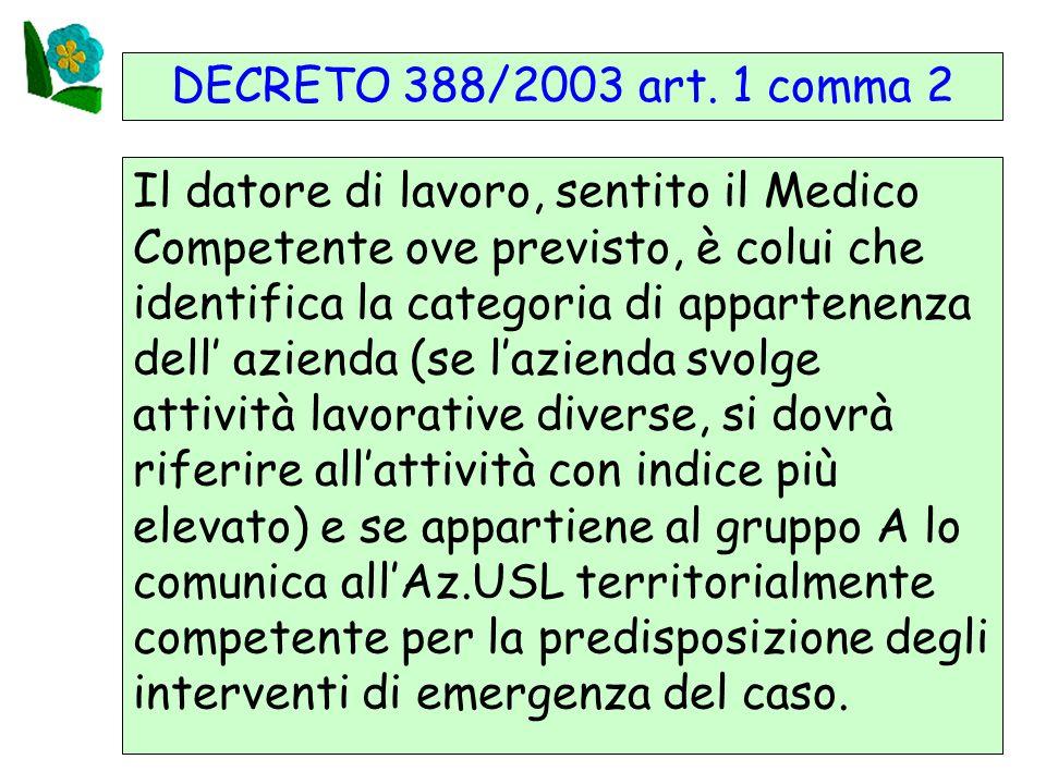 DECRETO 388/2003 art. 1 comma 2