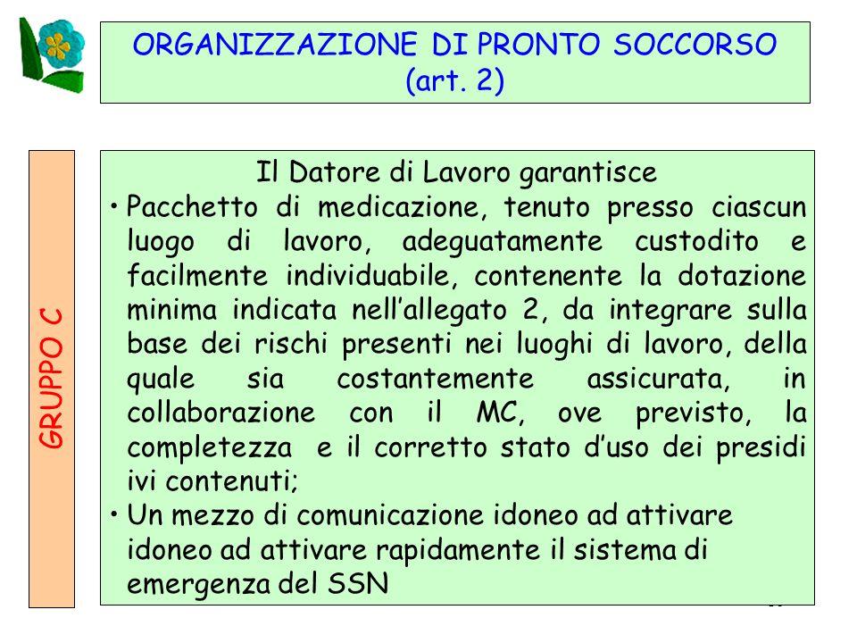 ORGANIZZAZIONE DI PRONTO SOCCORSO (art. 2)