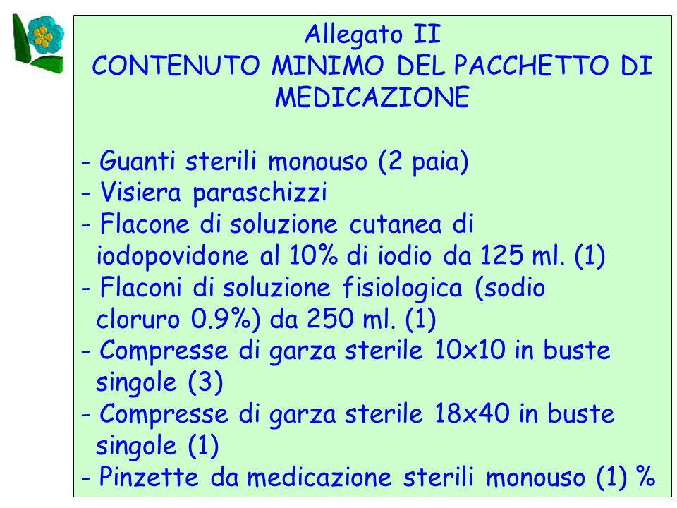 CONTENUTO MINIMO DEL PACCHETTO DI MEDICAZIONE