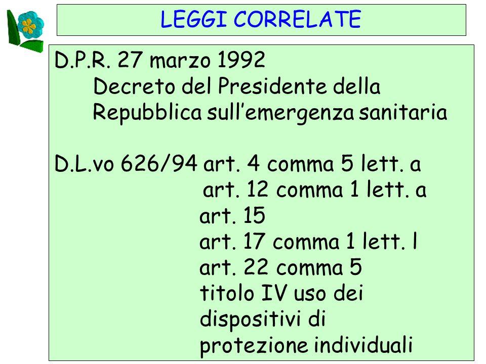 LEGGI CORRELATE D.P.R. 27 marzo 1992. Decreto del Presidente della. Repubblica sull'emergenza sanitaria.