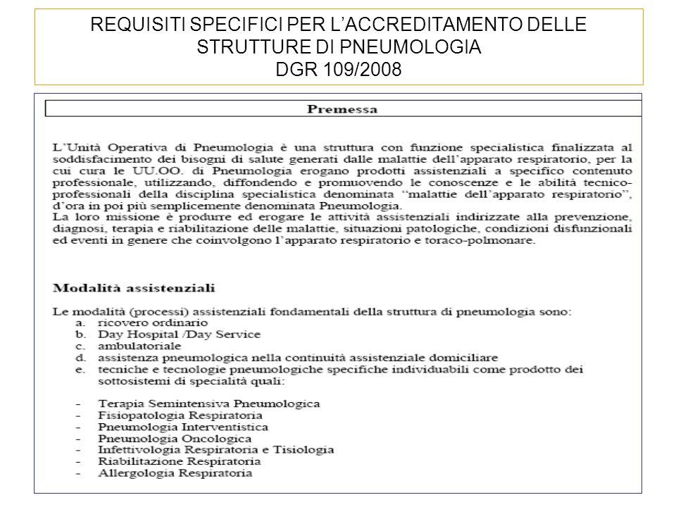 REQUISITI SPECIFICI PER L'ACCREDITAMENTO DELLE STRUTTURE DI PNEUMOLOGIA DGR 109/2008