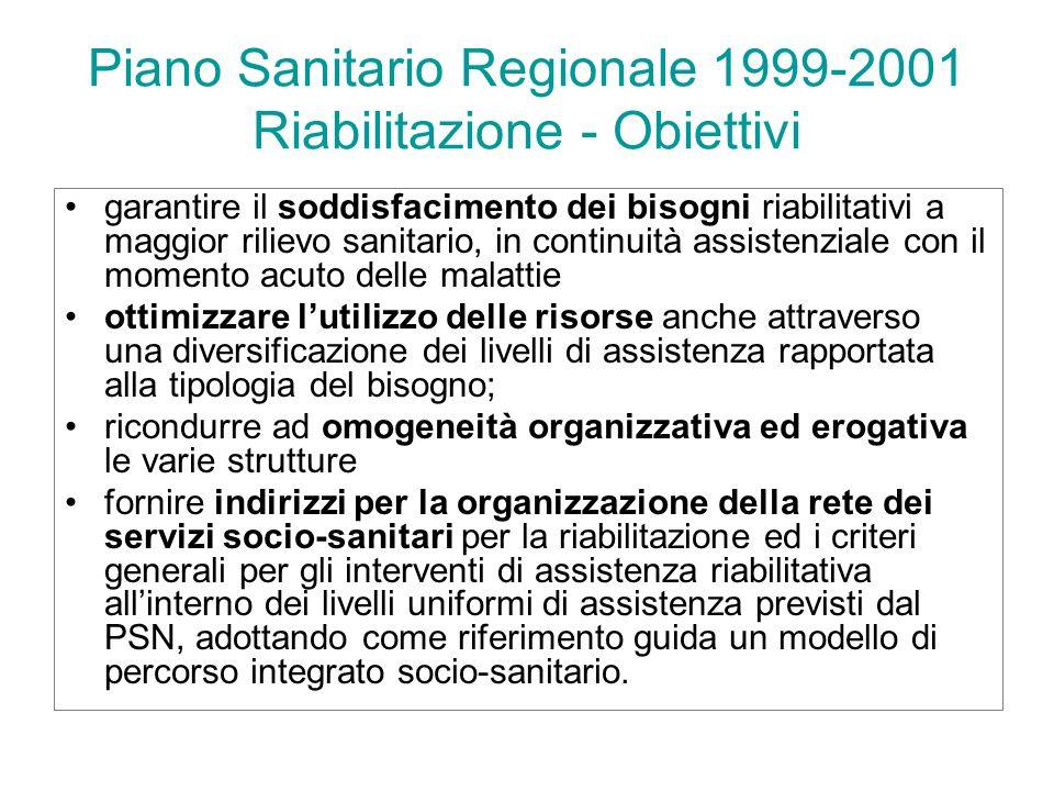 Piano Sanitario Regionale 1999-2001 Riabilitazione - Obiettivi