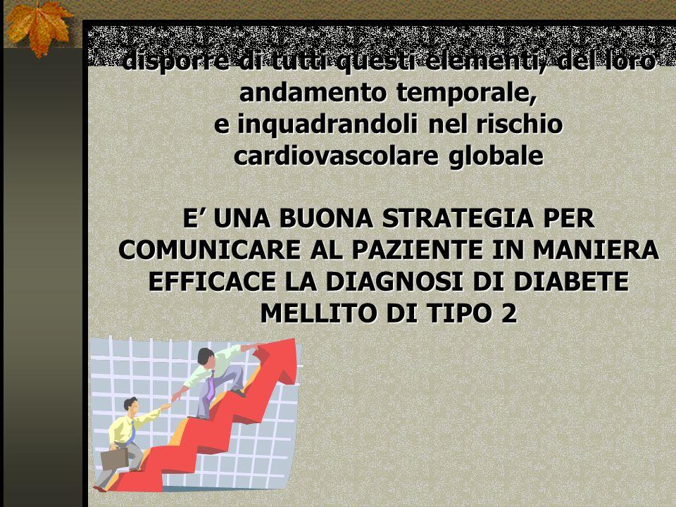 disporre di tutti questi elementi, del loro andamento temporale, e inquadrandoli nel rischio cardiovascolare globale E' UNA BUONA STRATEGIA PER COMUNICARE AL PAZIENTE IN MANIERA EFFICACE LA DIAGNOSI DI DIABETE MELLITO DI TIPO 2