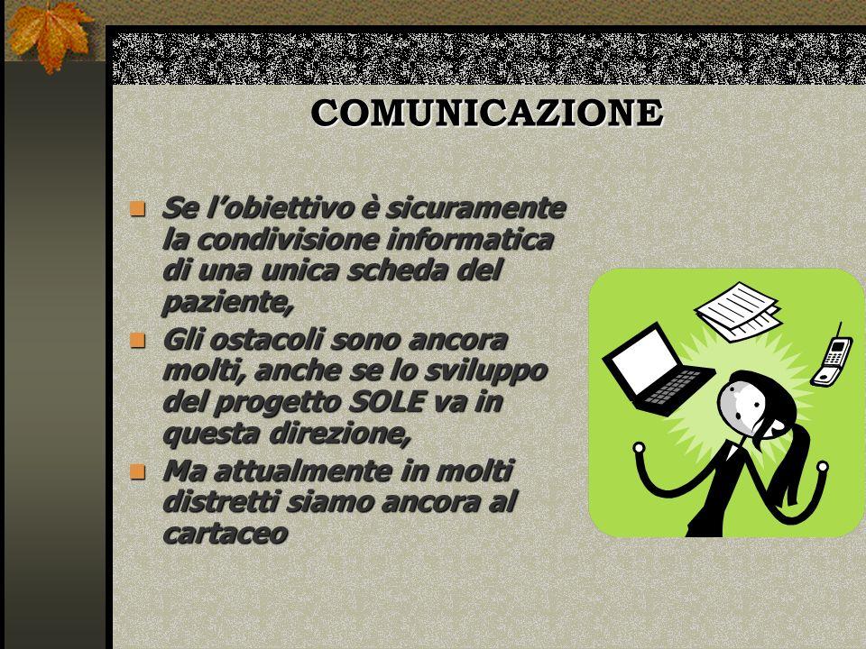 COMUNICAZIONE Se l'obiettivo è sicuramente la condivisione informatica di una unica scheda del paziente,