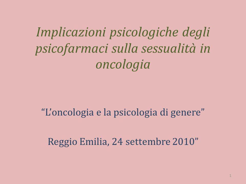 Implicazioni psicologiche degli psicofarmaci sulla sessualità in oncologia