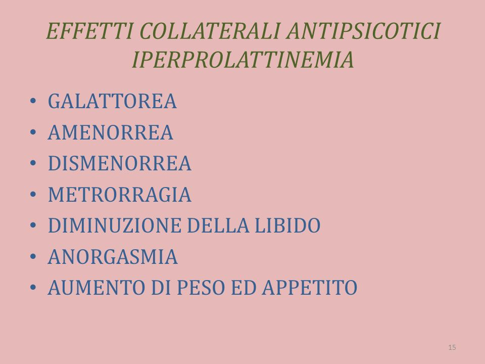 EFFETTI COLLATERALI ANTIPSICOTICI IPERPROLATTINEMIA