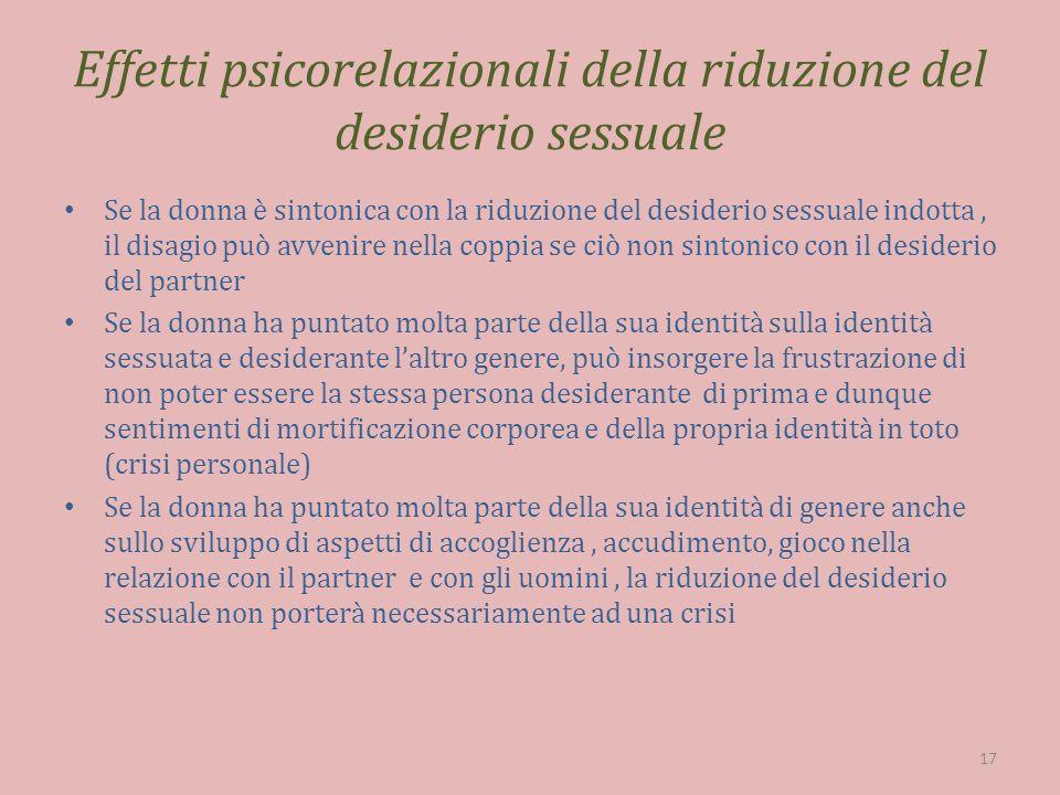 Effetti psicorelazionali della riduzione del desiderio sessuale