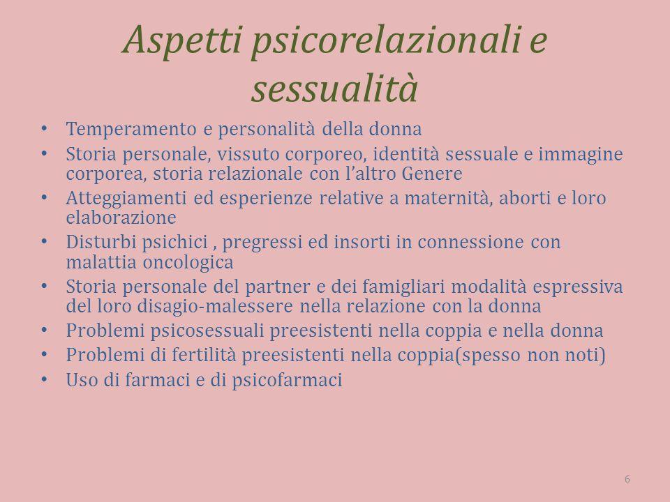 Aspetti psicorelazionali e sessualità