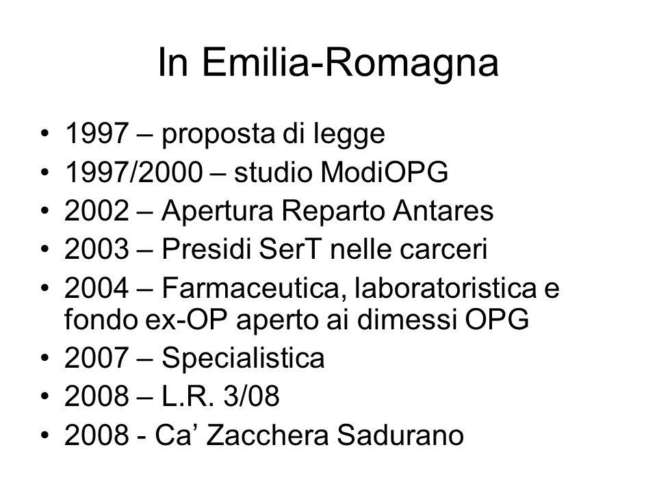 In Emilia-Romagna 1997 – proposta di legge 1997/2000 – studio ModiOPG
