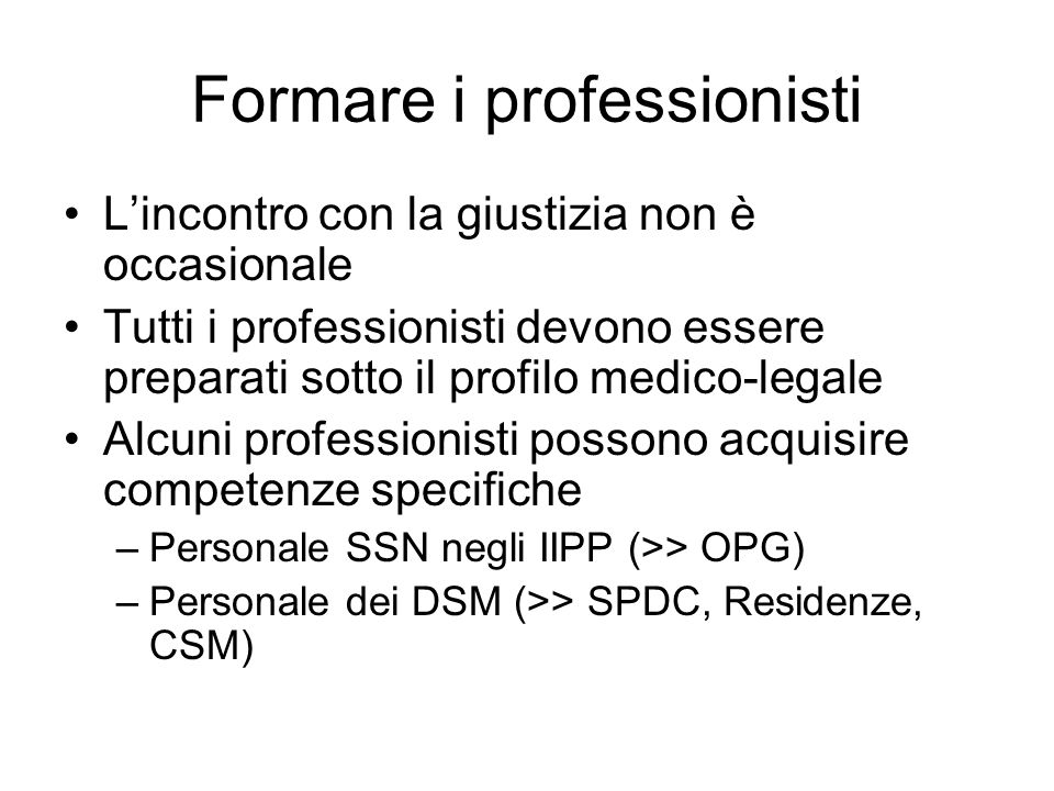 Formare i professionisti