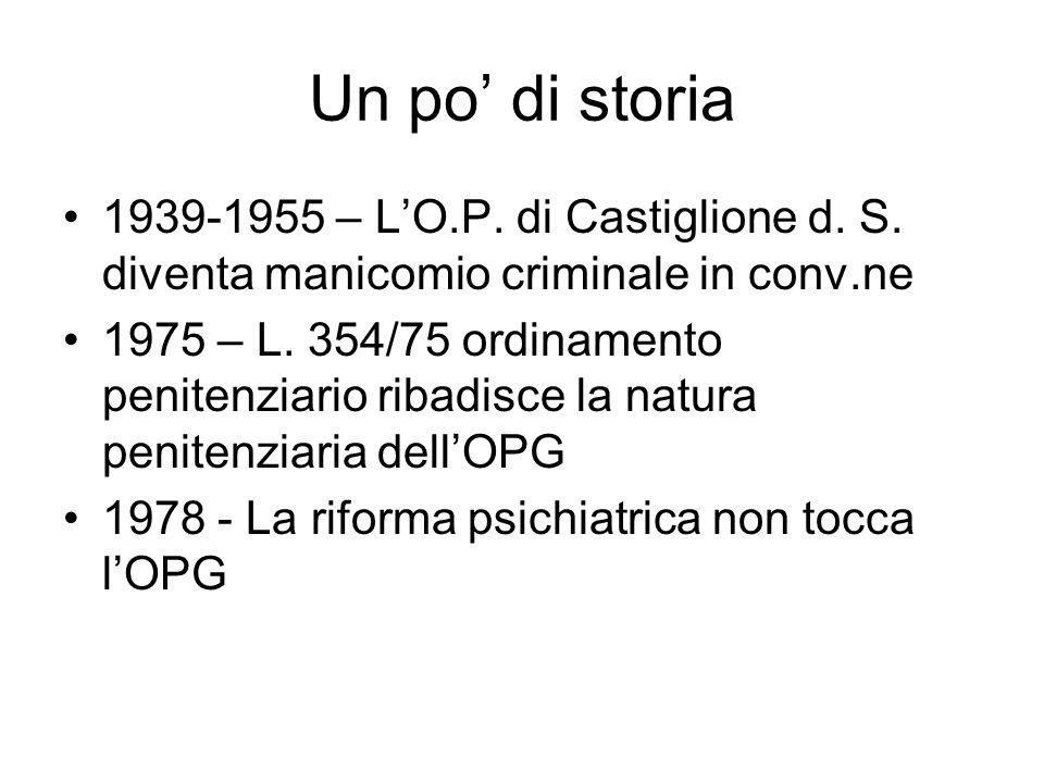 Un po' di storia 1939-1955 – L'O.P. di Castiglione d. S. diventa manicomio criminale in conv.ne.