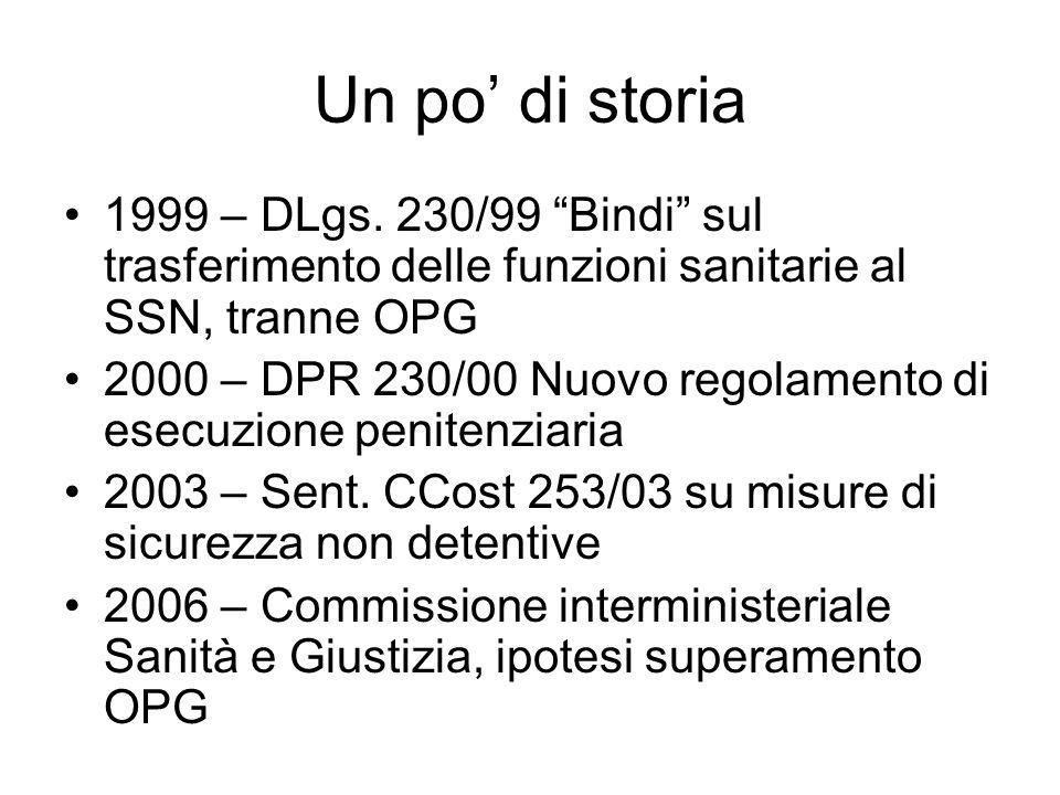 Un po' di storia 1999 – DLgs. 230/99 Bindi sul trasferimento delle funzioni sanitarie al SSN, tranne OPG.