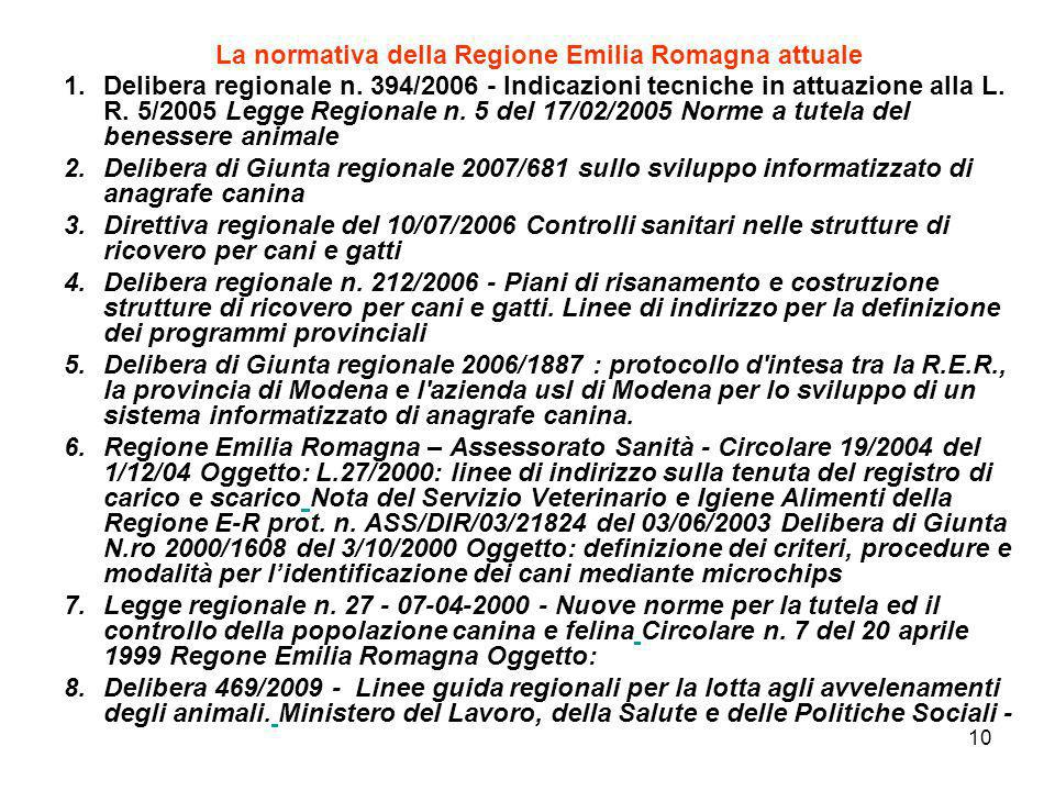 La normativa della Regione Emilia Romagna attuale